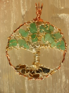 Tree of Life Pendant Green Aventurine and Tiger's Eye Crystal Reiki Charged