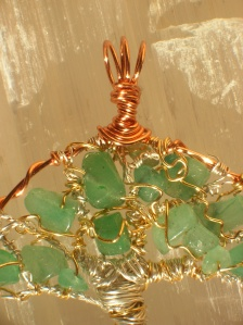 Detail of Tree of Life Pendant Green Aventurine and Tiger's Eye Crystal Reiki Charged